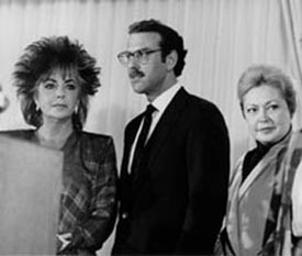 Dame Elizabeth Taylor, Dr. Michael Gottlieb, and Dr. Mathilde Krim announce the creation of the American Foundation for AIDS Research in September 1985.